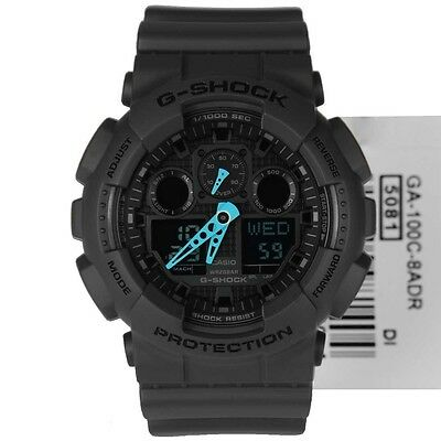Brand New G-Shock Ga100C-8A Digital Watch And Analog With Neon Blue Hands Nwt!!