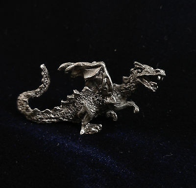 Vintage Gallo Miniature Mythical Pewter Flying Dragon Figurine Statue