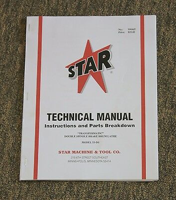 Star Machine 53-DS Transfermatic Heavy Duty Brake Lathe Instructions & Parts