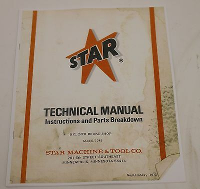 Star Machine Reliner Brake Shop Model 1045 Instructions & Parts Breakdown Drums