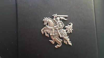 Lithuania coat of arms silver proof 925 badge - PROUD TO BE LITHUANIAN !!!