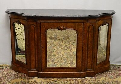 Antique 1800's Burl Walnut Mirrored Sideboard Server Buffet Marble Top