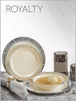 """120 ct. White Silver Disposable  Plastic Royalty Plates & Bowls """"Wedding"""""""