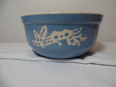 Vintage Bowl Cameoware Blue with Butterfly Pattern