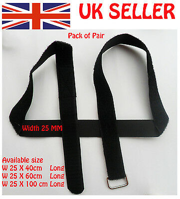 2 X VELCRO ADJUSTABLE STRAP TIE DOWN METAL BUCKLE LUGGAGE REUSABLE 25mm wide