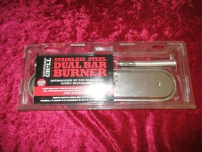 "Stainless Steel Dual Bar Burner 12.7 -17"" Fits most gas grills w/2 control knobs"