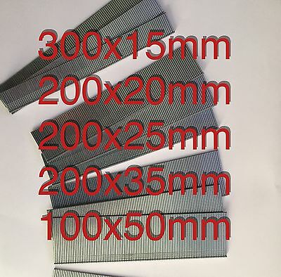 1000 Galvanized Mixed 15mm/20m/25mm/35mm/50mm Brad Nails 18Gauge/18g/180 for Gun