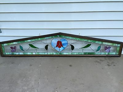 ANTIQUE Vintage Stained Glass ARTS AND CRAFTS Heart And Vine TRANSOM WINDOW