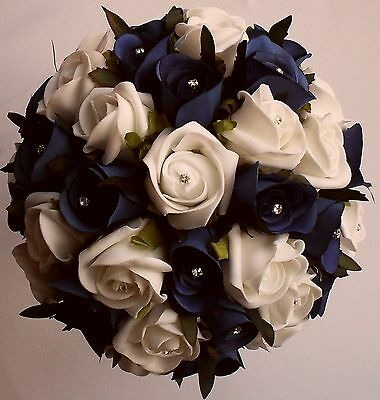 Bridesmaid Brides Royal Blue and White Rose Wedding Diamante Roses Bouquet Posy