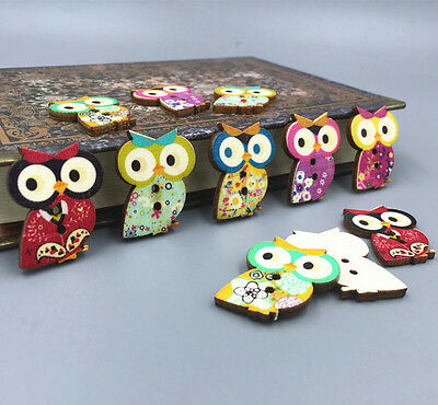 Wooden Buttons 2-hole Owl shape Fit Sewing Craft scrapbooking decoration 29mm