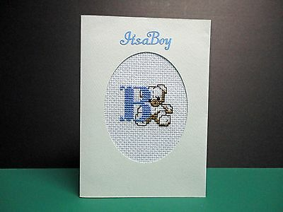 "Cross Stitch Card-""Baby Boy""- (Completed card)"