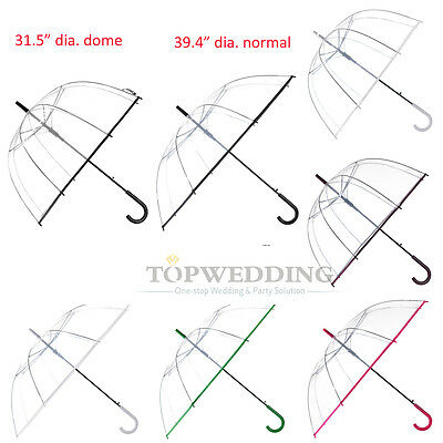 New Transparent Clear Bubble Rain Umbrella with Color Trim Parasol Photo Favor