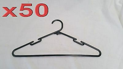 50pc Plastic Black Adult Clothing Hangers