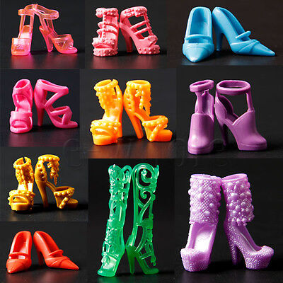 20pcs 10 Pair Mixed High Heel Shoes For 29cm Doll Clothes Accessories DT