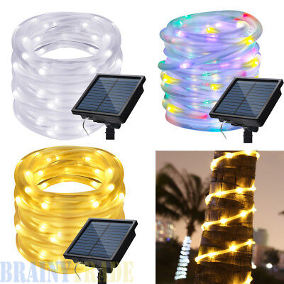 42FT 100 LEDS Solar Powered waterproof Outdoor LED Rope Lights Xmas Garden Lamp