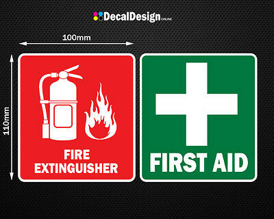 First Aid & Fire Decal Set 110mm x 100mm OH&S WHS car safety sticker