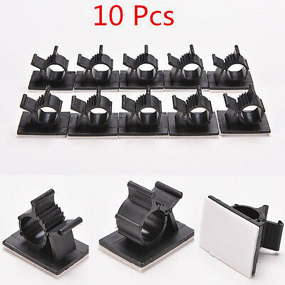 10pcs Cable Cord Wire Organizer Plastic Clips Ties Fixer Holder Self Adhesive GB