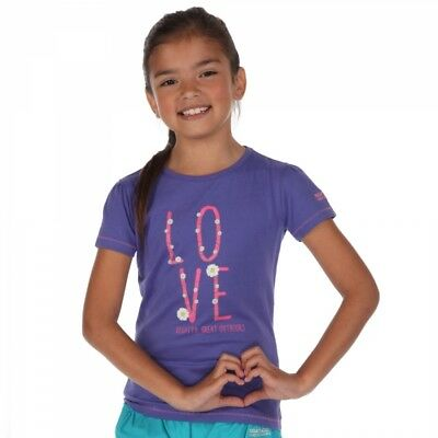 Regatta Kids Girls Childrens Bobbles Casual Cotton T-shirt in Peony Purple