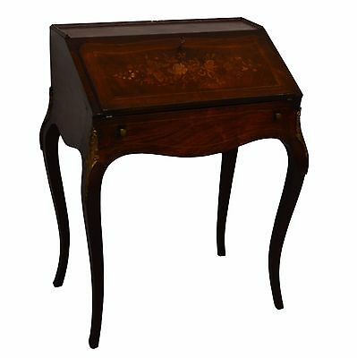 French Style Handtooled Rosewood Inlaid Ladies Desk Table Vanity Ormolu