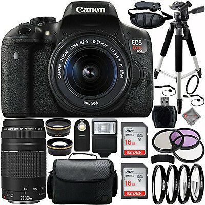 Canon EOS Rebel T6i DSLR Camera w/ 18-55mm 75-300mm Lenses USA Model 2 Lens Kit