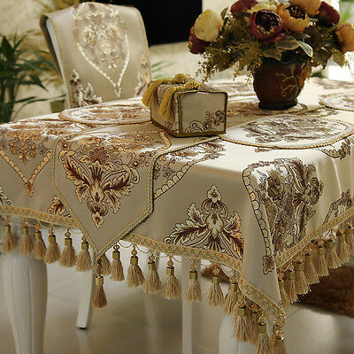 Formal Europe American Style Custom Luxury Light Beige Brown Tablecloth Covers
