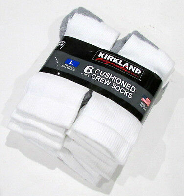 6 Pack Kirkland White Cushioned Crew Sports Tennis Socks Mens Large 8-12