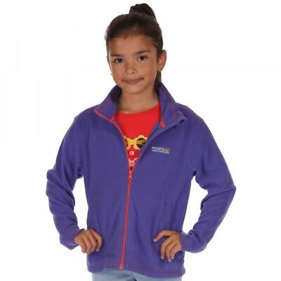 Regatta Kids Girls Childrens King II Warm Comfy Jumper Micro Fleece - Purple