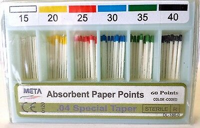 Absorbent Paper Points Assorted .04 Special Taper #15,20,25,30,35,40 (60 Pts)
