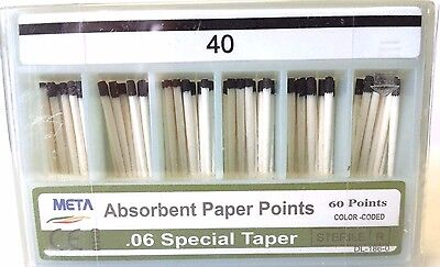 META ABSORBENT PAPER POINTS .06 SPECIAL TAPER #40 (60 PTS) BLACK paperpoint