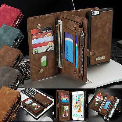 Leather Wallet Case Removable Magnetic Flip Cover Card for iPhone 6 6S Plus