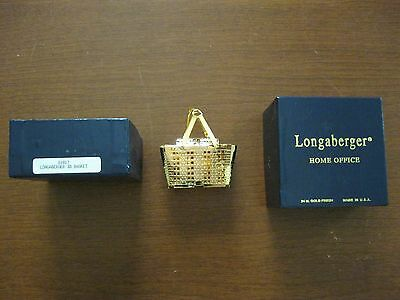 Longaberger Home Office 3D Basket 24 Kt Gold finish in box near mint