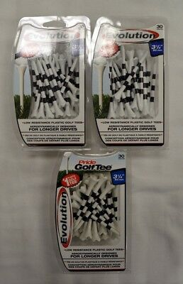 "Pride Evolution Golf Tees 3 1/4"" - White with Stripe - 3 Packs of 30 - (11807)"