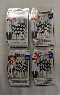 "Pride Evolution Golf Tees 3 1/4"" - White with Stripe - 4 Packs of 30 - (11807)"