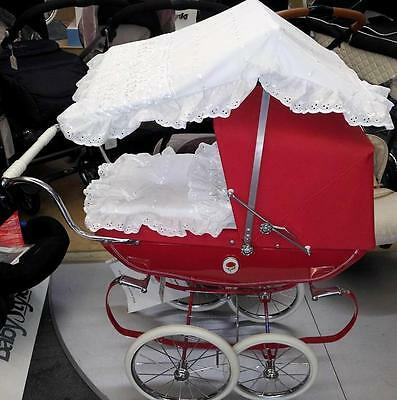 White Dolls Sun Canopy And Bedding Set To Fit Oberon Silver Cross Prams
