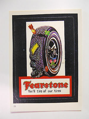 VINTAGE! 1986 Topps Wacky Packages Trading Card #23-Fearstone-Firestone