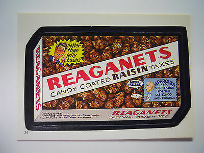VINTAGE! 1986 Topps Wacky Packages Trading Card #24-Reaganets-Raisinets