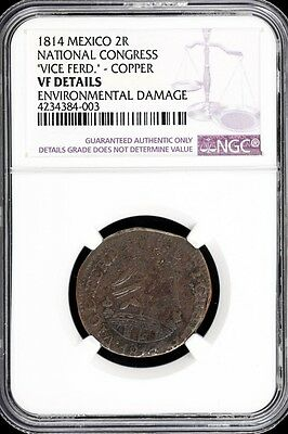 War For Independence 2 Reales 1814 National Congress NGC VF DETAILS KM212 34072