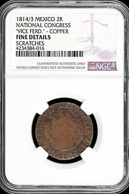 War For Independence 2 Reales 1814/3 National Congress NGC F DETAILS KM212 34073