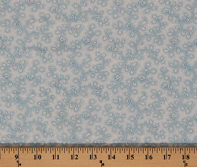 Vintage Roses Floral White Flowers on Blue Cotton Fabric Print by Yard D301.12