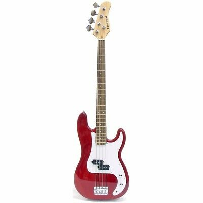 New Crestwood PB970TR 4 String Electric Bass Guitar, Transparent Red +Ships Free