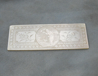 Antique Chinese Cantonese RARE Mother of Pearl Mint Gaming Chip Pre-1800