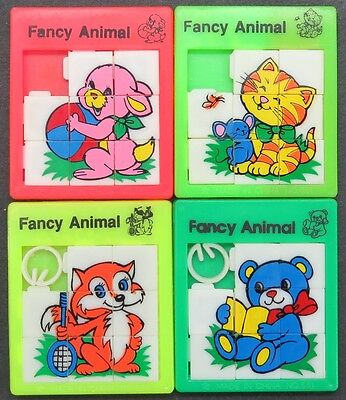 Slide Puzzle - Fancy Animal - 4 x Schiebe Puzzle Spielzeug Tiere (Lot-IS-19