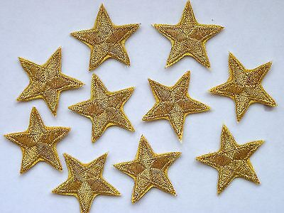 * Pack of 10 embroidered Gold star patches   iron-on or sew-on *