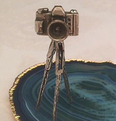 STUNNING Antique Sterling Silver Miniature CAMERA ON TRIPOD Dollhouse ITALY-L084