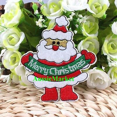 1 x father christmas xmas santa patch girls boys jeans shirt iron sew on fabric