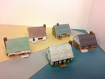 Z Scale Building - Card Stock Cape Cod Style or Wartime Houses (set of 5)