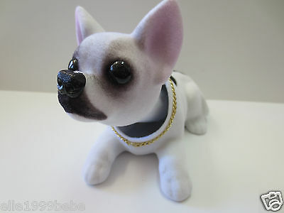 Chihuahua Dog / White with Black Spot Bobbing Head Dogs/ Bobble Head Doll Toy