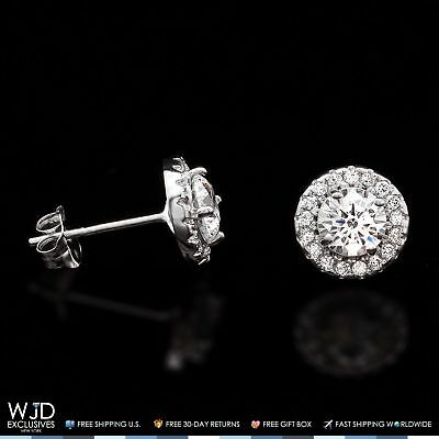 1Ct Round Diamond Solid 14K White Gold Halo Solitaire Stud Earrings
