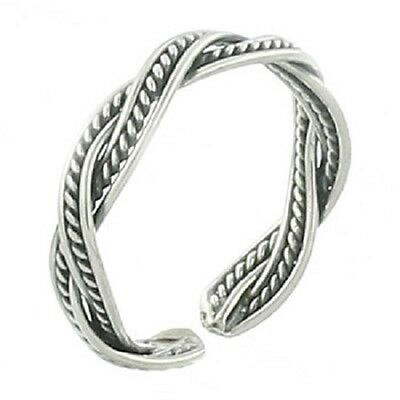 Toe ring sterling silver antique Double Braided adjustable 3mm wide stamped 925