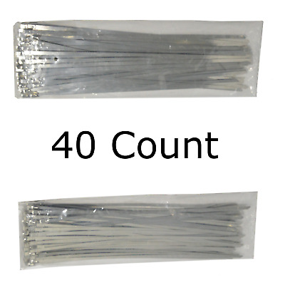 """12"""" QTY 40 Stainless Steel Wire Zip Ties Industrial Strength Self Locking Band"""